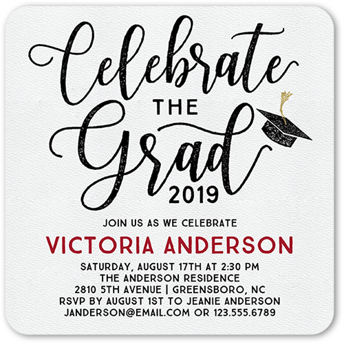 Celebratory Script 5x5 Graduation Party Invitations Shutterfly