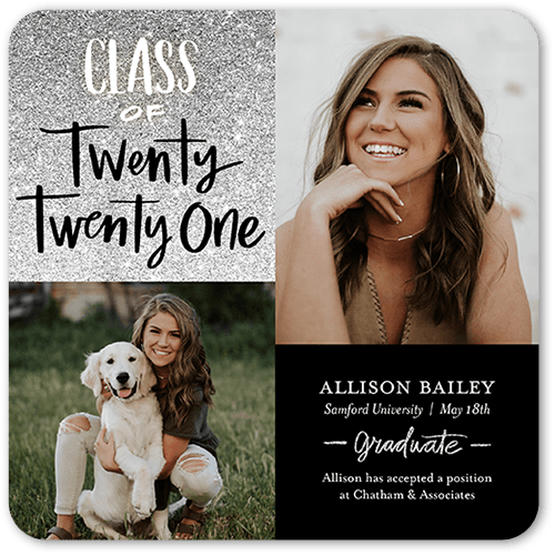 Glistening Graduate Graduation Announcement, Rounded Corners