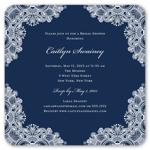 Ornamental Elegance Bridal Shower Invitation, Rounded Corners