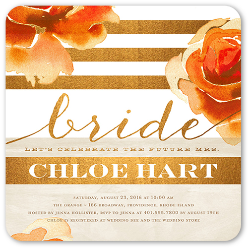 Gleaming Bride Bridal Shower Invitation, Rounded Corners