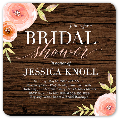 English Garden Florals Flat Bridal Shower Invitations Shutterfly