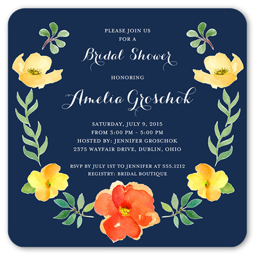 Watercolor Blossoms Bridal Shower Invitation, Rounded Corners