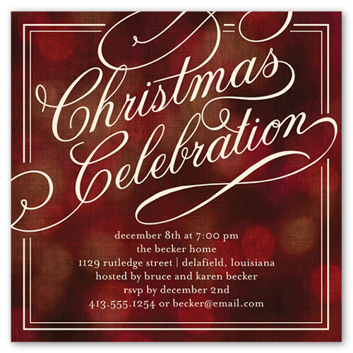 Bokeh Frame Holiday Invitation by Éclair Paper Company