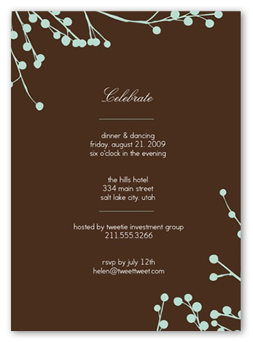 Mint Blossoms Party Invitation, Square Corners