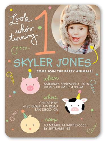 Little Party Animals Birthday Invitation, Square