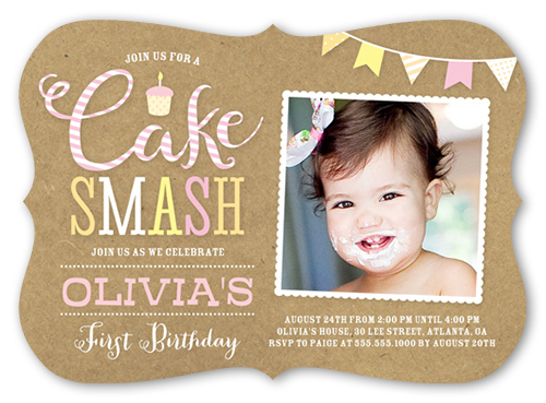 Cake Smash Girl 5x7 Invitation Card 1st Birthday Invitations