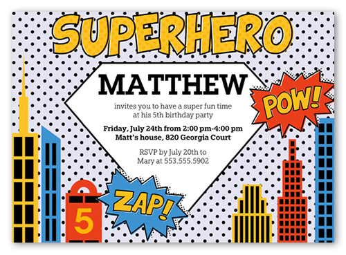 Superhero 5x7 Invite