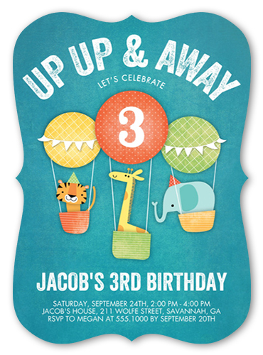 Fun Hot Air Balloons 5x7 Invitation Boy Birthday Invitations