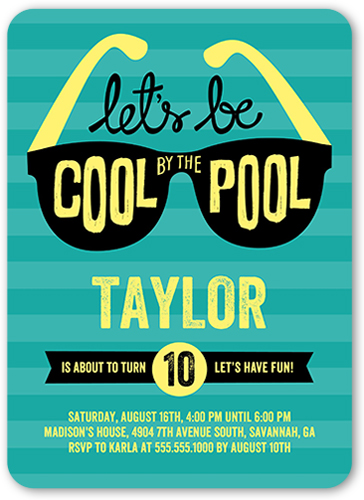 Cool By The Pool Birthday Invitation, Rounded Corners