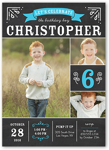 Let's Celebrate Boy Birthday Invitation, Square Corners