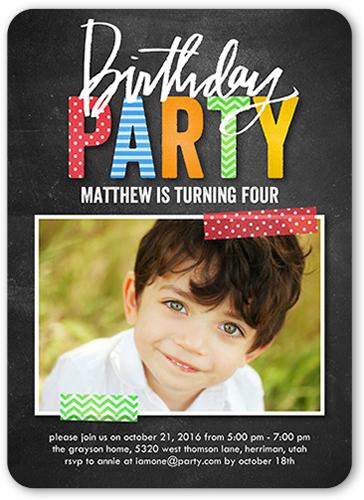 Preppy Party Boy Birthday Invitation, Rounded Corners