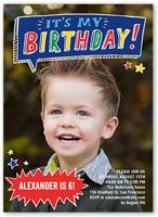 Birthday party invitations for boys shutterfly talk bubble fun birthday invitation stopboris Choice Image