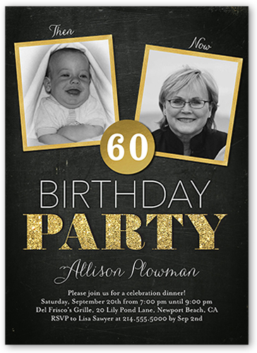 Then And Now Frames Birthday Invitation, Square