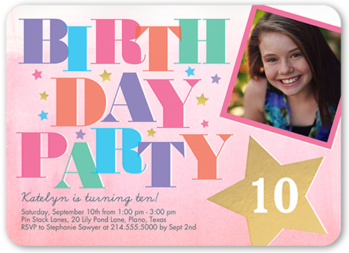 Bright Big Day Birthday Invitation, Rounded Corners