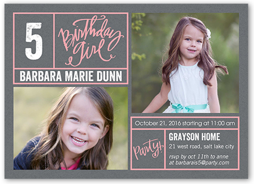 Bright Borders Girl Birthday Invitation, Square Corners