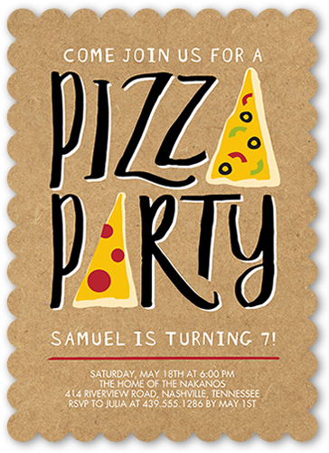 Pizza Party 5x7 Stationery Invite Boy Birthday Invitations