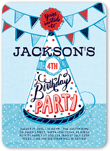 Party Hat Fun Boy Birthday Invitation, Rounded Corners