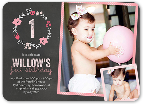 Floral Birthday Girl Birthday Invitation, Rounded Corners