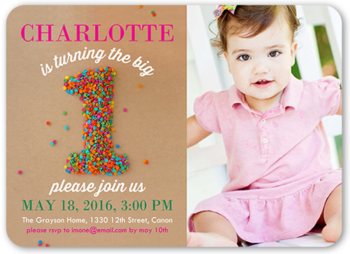 Sprinkle First Girl 5x7 1st Birthday Invitation – Girl Birthday Invitation