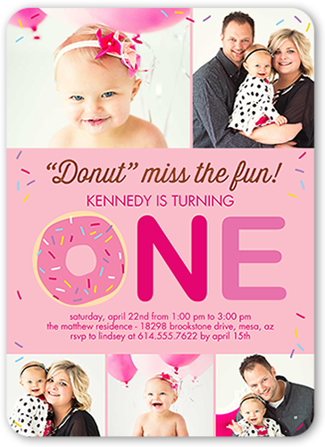 Donut Miss Girl Birthday Invitation, Rounded Corners