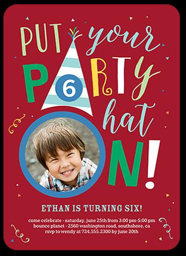 Party Hat Boy Birthday Invitation, Rounded Corners