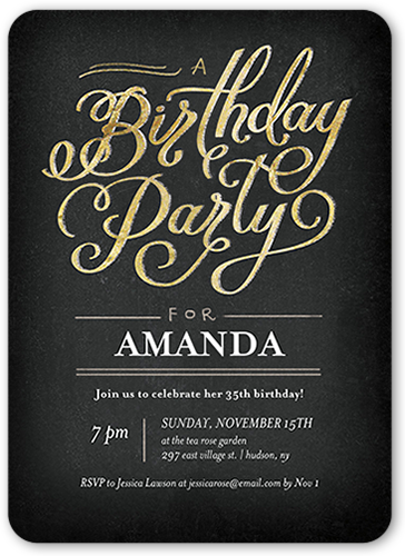 Party Script Birthday Invitation, Square