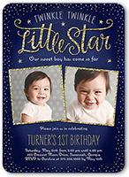 twinkle celebration birthday invitation 5x7 flat