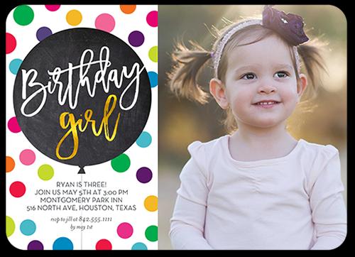 Polka Dot Confetti Birthday Invitation, Rounded Corners