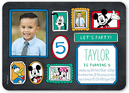 Disney Mickey and Friends Frame Birthday Invitation, Rounded Corners
