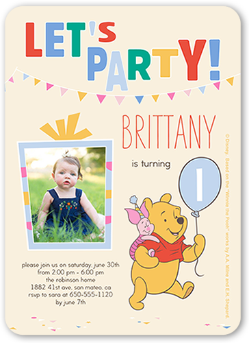 Disney Winnie The Pooh Balloon Birthday Invitation