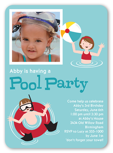 pool party aqua 5x7 flat girls birthday invitations shutterfly