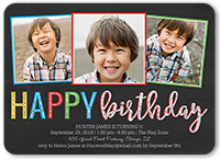 Happy Frames Boy Birthday Invitation 5x7 Flat