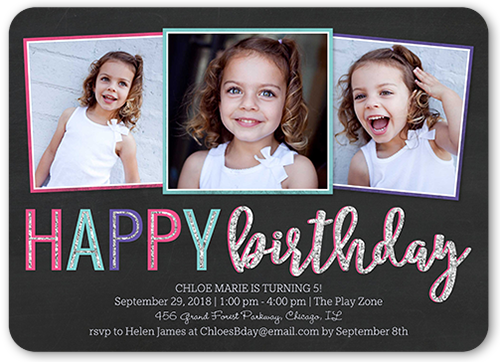 Happy Frames Girl Birthday Invitation, Rounded Corners