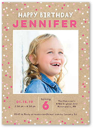 Cheerful Dots Girl Birthday Invitation, Square Corners