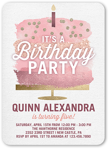 Glimmering Cake Birthday Invitation, Rounded Corners
