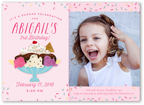 Sundae Celebration Girl Birthday Invitation, Square Corners