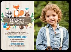 woodland wishes boy birthday invitation 5x7 flat