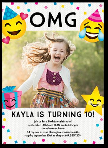 Emoji Celebration Birthday Invitation, Square Corners