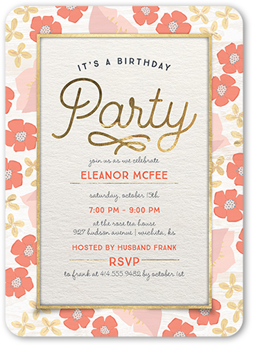 Darling Floral Border Birthday Invitation, Rounded Corners