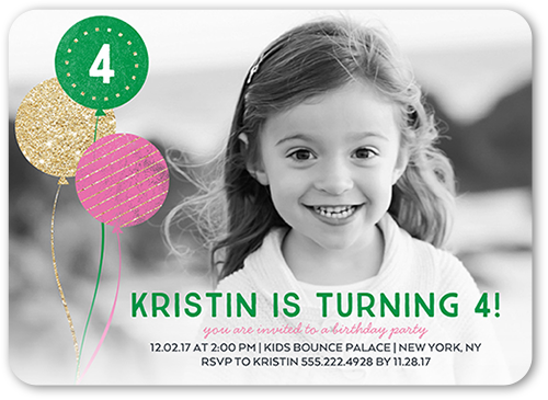 Glimmering Party Birthday Invitation, Rounded Corners
