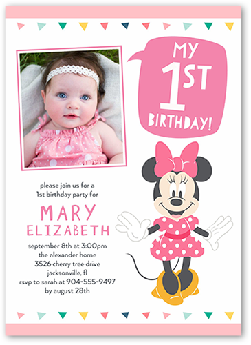 Disney Minnie Mouse One Birthday Invitation