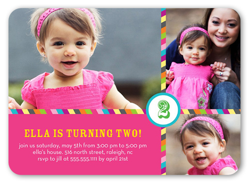 Another Year Pink Birthday Invitation, Rounded Corners