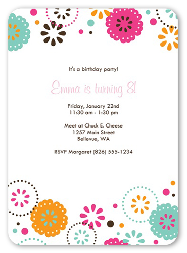 White Fiesta Birthday Invitation