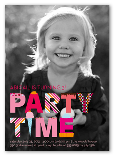 Party Time Pinks Birthday Invitation