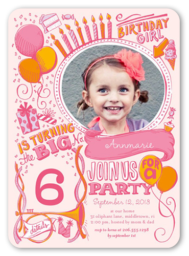Festive Doodles Girl Birthday Invitation