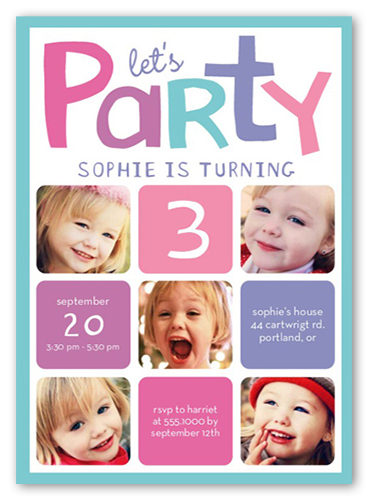 Lets Party Girl Birthday Invitation