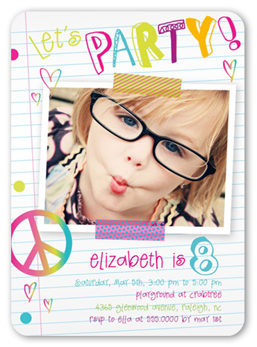 Notebook Doodles Birthday Invitation, Rounded Corners