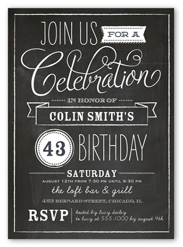 Chalkboard Wishes X Invitation Card  Birthday Party Invitations