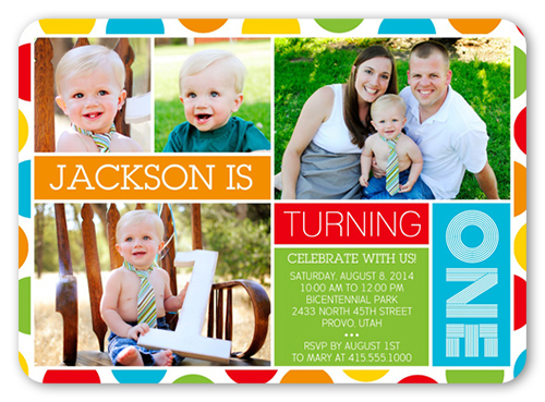 Bright Polka Dots Boy 1st Birthday Invitations – 1 Year Birthday Invitations