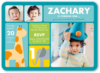 3 photo 5x7 baby boy 1st birthday invitations birthday invites